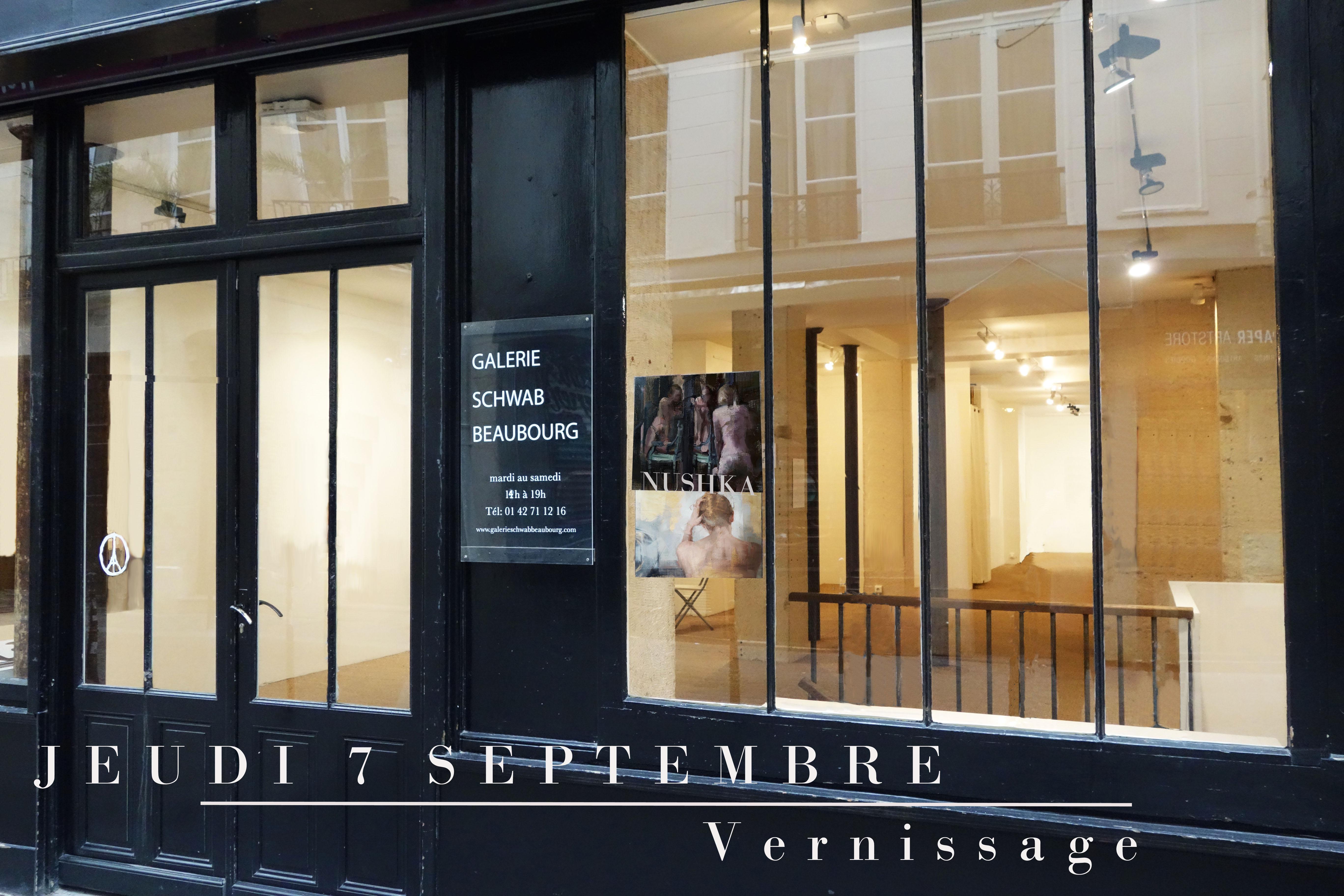 Vernissage le Jeudi 7 Septembre à la Galerie Schwab Beaubourg